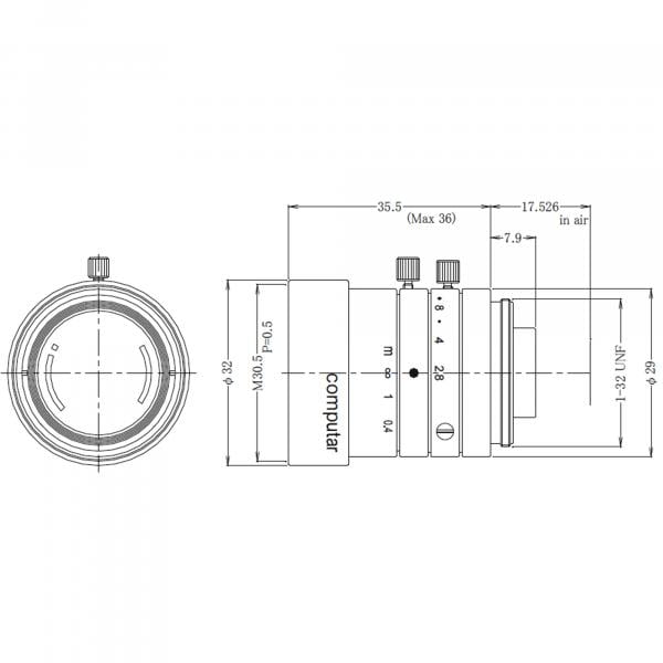 computar 8,0mm M0828-MPW3 F2.8-16, 2/3, C-Mount Objektiv